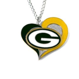 Green Bay Packers Swirly Heart Necklace