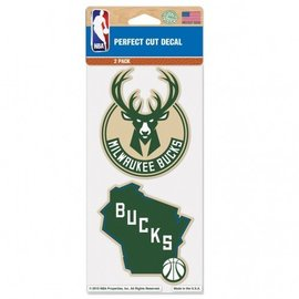 WinCraft, Inc. Milwaukee Bucks 2 Pk Perfect Cut Decal