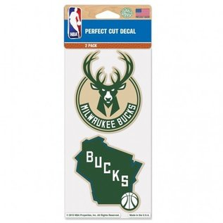 WinCraft, Inc. Milwaukee Bucks 2 Pack 4x4 Perfect Cut Decal