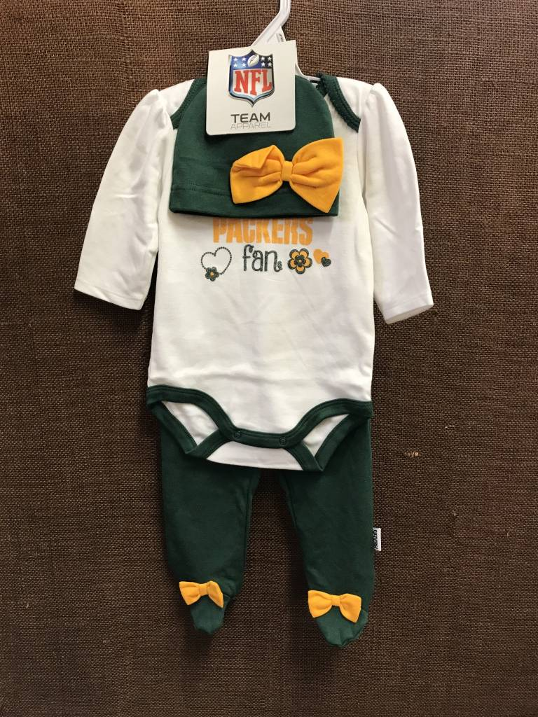 Green Bay Packers Infant Long Sleeved Onesie With Pants And Hat