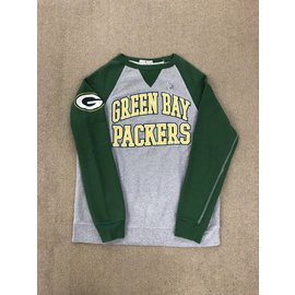 Junk Food Green Bay Packers Men's Gray Body With Green Sleeves Crewneck Sweatshirt