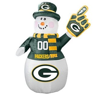 Boelter Brands LLC Green Bay Packers 7 Foot Inflatable Snowman With LED Lights