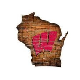Wisconsin Badgers State Shaped Wood Sign
