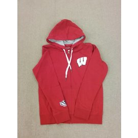 Wisconsin Badgers Women's Red with Bling W Full Zip Hoodie