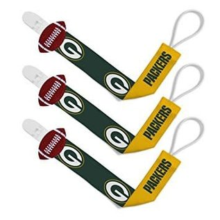 Baby Fanatics Green Bay Packers 3 Pack Pacifier Clips