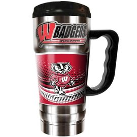 Wisconsin Badgers 20 oz Stainless Steel Travel Mug with Emblem