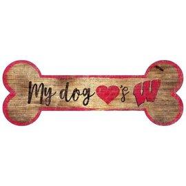 Fan Creations Wisconsin Badgers Wood Sign-Dog Bone