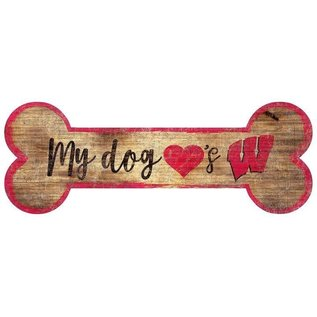 Fan Creations Wisconsin Badgers Wood Sign-Dog Bone