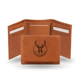 Rico Industries, Inc. Milwaukee Bucks Brown Leather Trifold Wallet with Man-made Interior