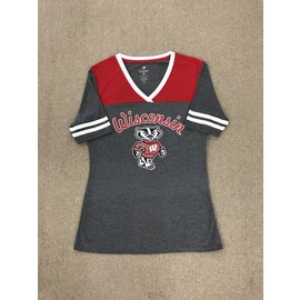 Wisconsin Badgers Women's Charcoal & Red Short Sleeve Tee
