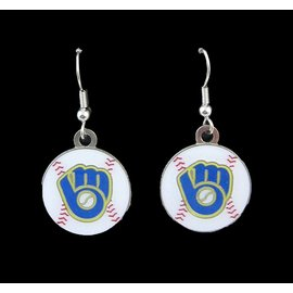 Milwaukee Brewers Glove Logo Dangle Earrings