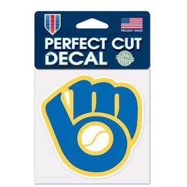 Milwaukee Brewers Perfect Cut 4x4 Decal, Ball & Glove