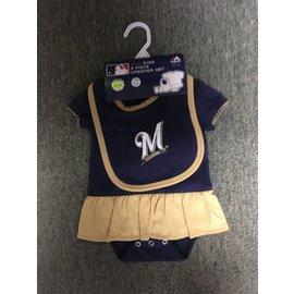 Milwaukee Brewers newborn dress, bib, and booties