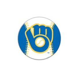 "Milwaukee Brewers 8""  Baseball shaped car magnet"
