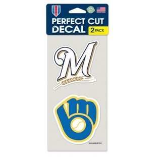 WinCraft, Inc. Milwaukee Brewers 2 Pack 4x4 Perfect Cut Decals