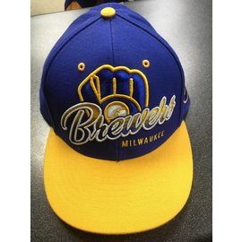 Milwaukee Brewers Flatbill Snapback Hat - Royal with Yellow Bill