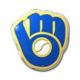 Milwaukee Brewers colored auto emblem - Ball & glove logo