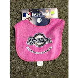 Milwaukee Brewers pink baby bib