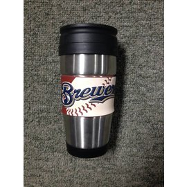 Milwaukee Brewers stainless steel travel mug with rubber wrap logo