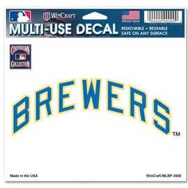WinCraft, Inc. Milwaukee Brewers Multi-use Colored Decal 5x6 - Word Mark
