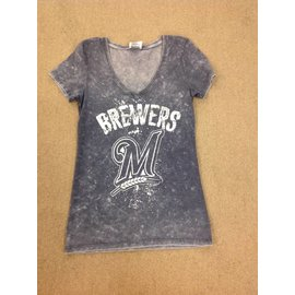 Milwaukee Brewers Womens Washed Blue v-neck Short Sleeve tee