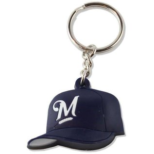 Milwaukee Brewers Rubber Baseball Hat Keychain