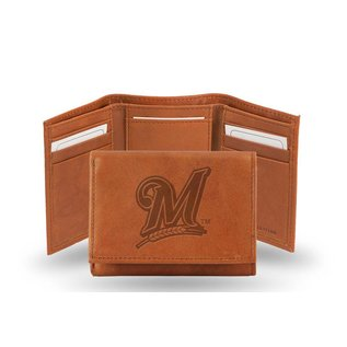 Rico Industries, Inc. Milwaukee Brewers Brown Leather Trifold Wallet with Man-made Interior