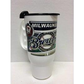 Milwaukee Brewers white travel mug