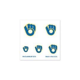 WinCraft, Inc. Milwaukee Brewers Ball & Glove Logo Fingernail Tattoos