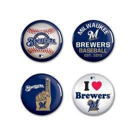 WinCraft, Inc. Milwaukee Brewers 4 Pack Buttons