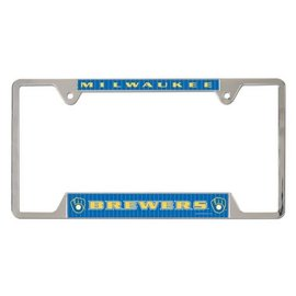 Milwaukee Brewers Metal License Plate Frame with Ball & Glove logo