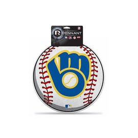 Rico Industries, Inc. Milwaukee Brewers Diecut Ball & Glove Logo Baseball Shaped Pennant