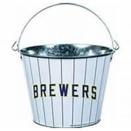 Milwaukee Brewers 5 qt Galvanized Bucket - Ball & Glove Logo