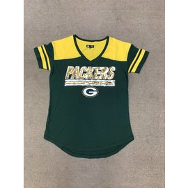 5th &  Ocean Green Bay Packers Women's Baby Jersey V Neck Short Sleeve Tee