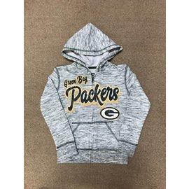 Green Bay Packers Youth Girls Space Dye Full Zip Hoodie