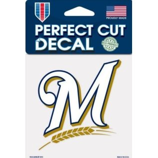 WinCraft, Inc. Milwaukee Brewers 4X4 Perfect Cut Decal-M Logo