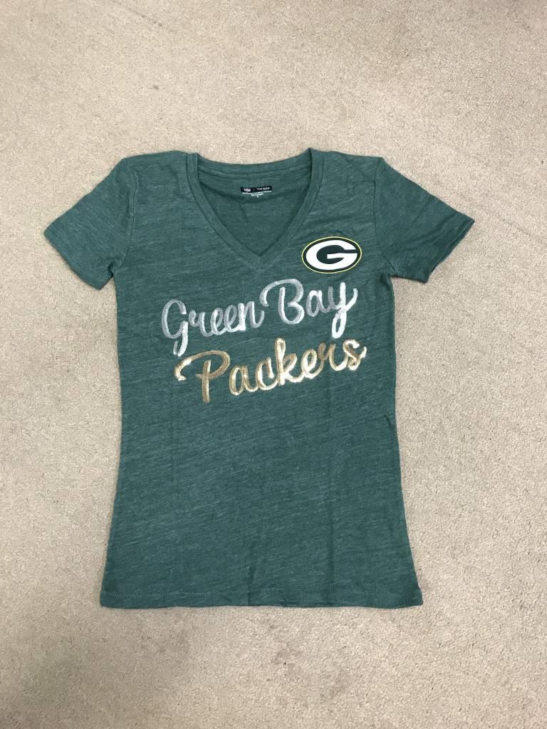88878ef5 Green Bay Packers Women's Triblend Jersey V Neck Short Sleeve Tee