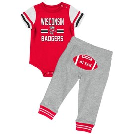 Wisconsin Badgers Infant Boys Long Run Football Onesie and Pant Set