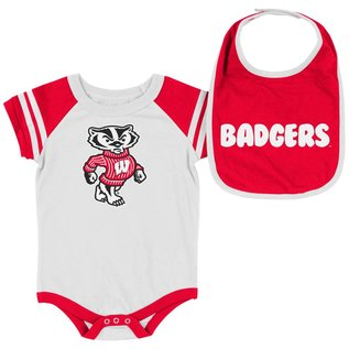 Colosseum Wisconsin Badgers Infant Roll Out Onesie and Bib Set