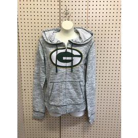 5th &  Ocean Green Bay Packers Women's Space Dye Full Zip Hoodie