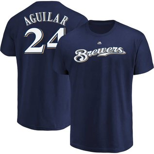Majestic Milwaukee Brewers Men's Aguilar Name and Number Short Sleeve Tee