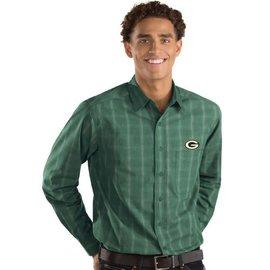 Antigua Green Bay Packers Men's Agent Full Button Long Sleeve Shirt