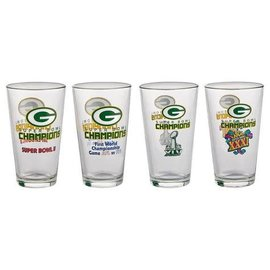 Green Bay Packers 4 Pack Super Bowl Pint Glasses