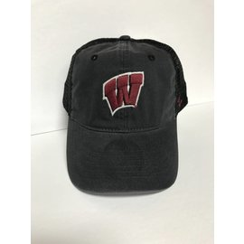 Wisconsin Badgers Raven Washed Mesh Back Adjustable Hat