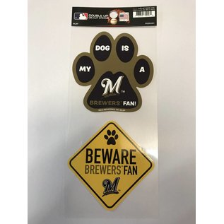 Rico Industries, Inc. Milwaukee Brewers Double Up Pet Themed Die Cut Sticker