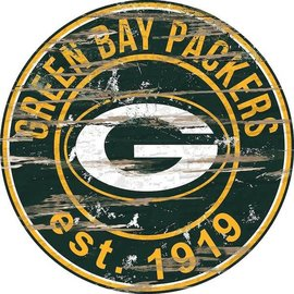 Fan Creations Green Bay Packers Round Distressed Sign