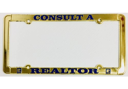 Realtor R License Plate Frame - Brass