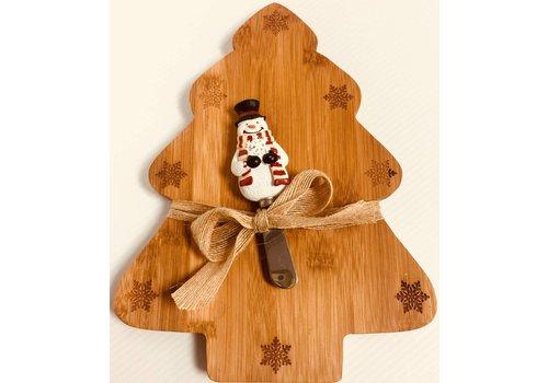 Cutting Board - Snowman Spdr - Bamboo