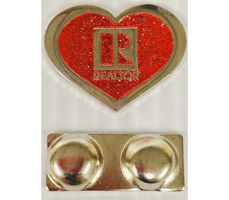 Realtor R Pin - Heart - Red Glitter