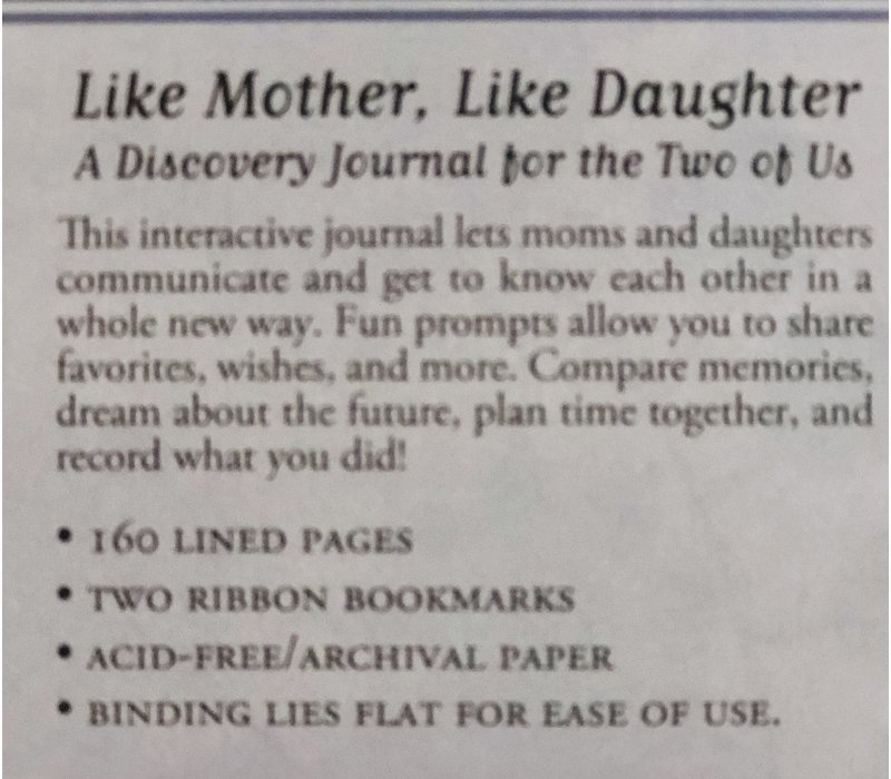 Journal - Like Mother/Daughter